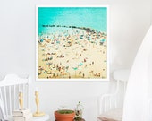 Large Beach Photography // Turquoise Print // Aerial Beach Photography // Modern Home Decor Wall Art // Turquoise Teal Coney Island Beach II