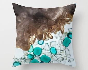 "Throw Pillows Hostess Gift // Spells, Fur & Quills, Turquoise, Beige, Brown, Crystals Throw Pillow, Gem Design, 18x18 and 16x16"""