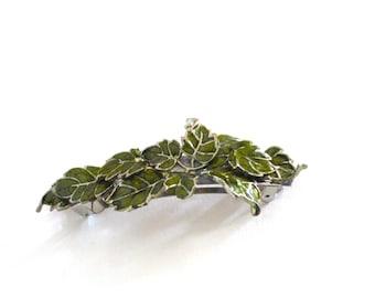 Big Green Leaves Hair Clip, Green Fairy Hair Clip, Rustic Woodland, Fantasy Hair Accessories, Enamel Green Leaf Hair Pin, Nature Hair Clip
