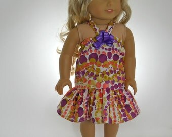 18 inch doll clothes, Purple/Gold Bubble Sundress, 05-0221