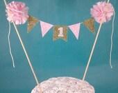 Pink Gold Cake Smash cake banner, First birthday cake banner,  L041 - birthday bunting cake topper