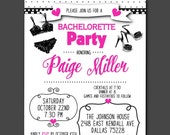 Sexy Lingerie Invitations, Invite with Envelope, Black Lingerie, Black & White Polka Dots, Bridal or Lingerie Shower, Bachelorette Party