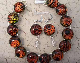 Copper and Black Dichroic Glass Bracelet and Earring Set - Fused Glass Jewelry - Dichroic Bracelet - Dangling Dichroic Earrings - 154-14