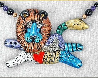 Hand sculpted Lion Doodle Necklace by Critter Craft