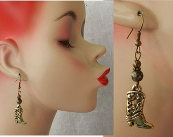 Gold Cowboy Boot Charm Dangle Earrings Handmade Jewelry Accessories Hook
