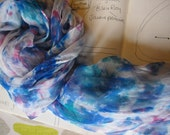 Art Shibori Hand dyed Silk Chiffon Scarf or Hair Bandanna - blue and pink