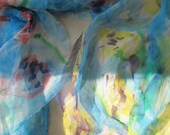 "SALE -  ""Yellow Tulips"" against Blue Sky - Silk Chiffon Scarf"