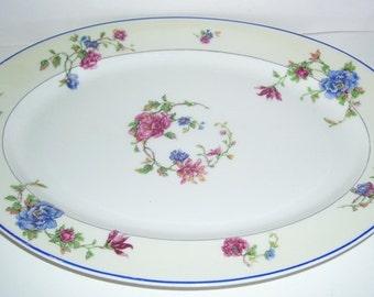 "Haviland & Co. Limoges France ""Angelo"" Floral Pattern, Porcelain Serving Plate,  14 inches long, Home Decor, French Serving Platter"