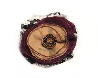 Lapel Pin, scarf pin, hat pin, fabric flower pin, purple / tan flower brooch, fiber art corsage, OOAK