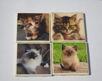 Kitties on ceramic tile coasters