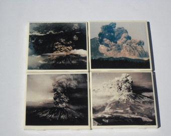 Volcano eruption on a ceramic tile coaster