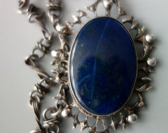 Italy Lapis and Sterling Silver Handmade Chain Pendant Necklace
