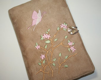Butterfly and Cherry Blossoms Embroidered  Book Cover