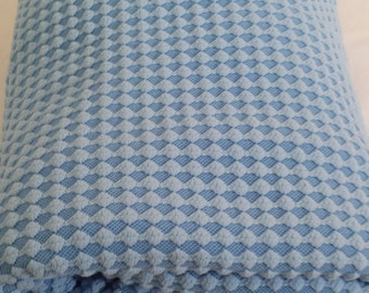 textured geometric...vintage knit fabric in powder blue