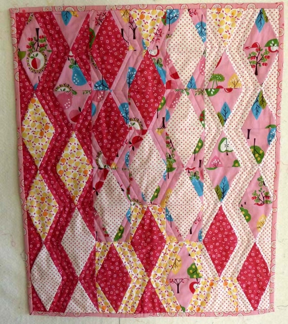 funny diamonds modern table topper or mini wall hanging doll quilt PINK girly