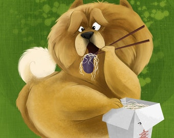 Chow Chow Chowing Down on Chow Mein | 8x10 Fine Art Print | Funny Dog Eating, Dog Lover Art | Flimflammery