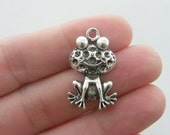 2 Frog charms antique silver tone A68