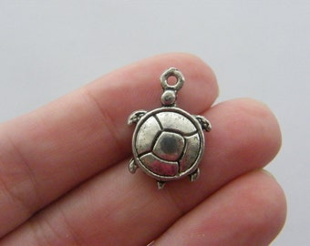 8 Turtle charms antique silver tone FF91