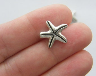 8 Starfish spacer beads antique silver tone FF225