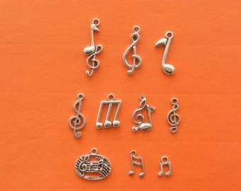 The Music Note Collection - 10 antique silver charms