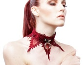 WICKED WINE Bondage Collar Black Leather BDSM Choker  Burgundy Lace Locking Post or Snaps