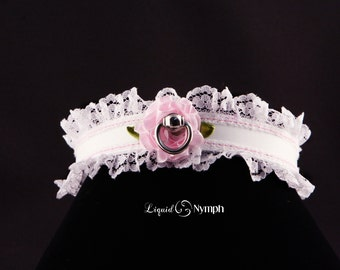 BDSM Collar Romantic Mature Gift White leather Lolita Choker Bondage With Pink Satin Rose & Ruffle Leash - Pink Rose Kitten Collar Christmas