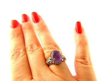 Amethyst Ring - Sterling Silver - Vintage