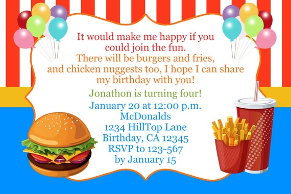 Fast Food Birthday Invitation McDonalds Inspired