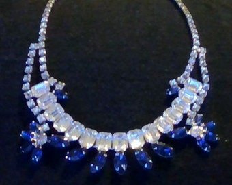 Vintage Rhinestone White Clear Sapphire Blue Necklace