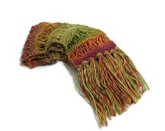 Autumn Tapestry Scarf, Hand Knit Scarf, Multicolor Scarf, Fall Color Scarf, Knit Scarf. Knitted Scarf ,Gift Idea, Winter Scarf, Womens Scarf