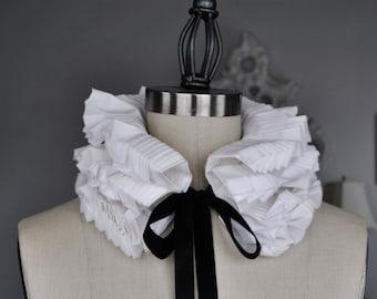 Hand pleated detachable collar/More colors/Ruffled collar/High collar/Detachable collar/Black and White/Neck piece/ rusteam tt team