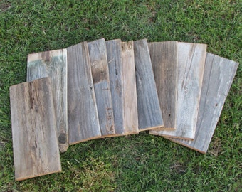 Reclaimed Planks Old Fence Wood Boards - 15 Fence Boards - 10 Inch Lengths - Weathered Barn Wood Planks Good Condition - Sign Boards