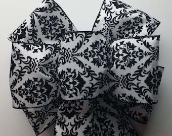 Wedding Pew Bows White & Black Damask Design Wired Ribbon