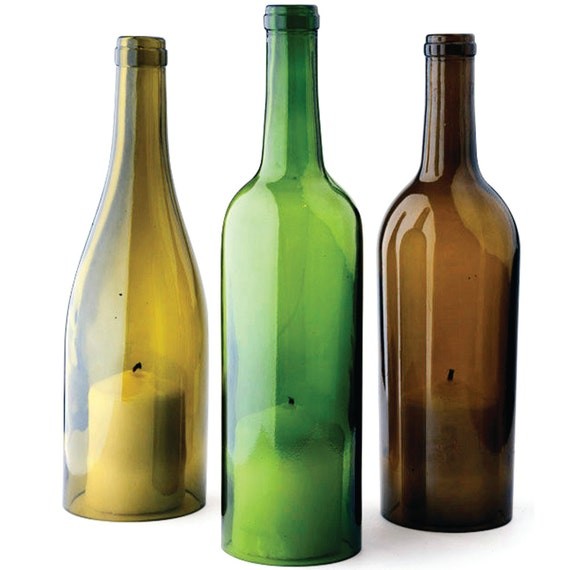 Wine bottle hurricane candle covers mixed set of 3 upcycled for How to color wine bottles