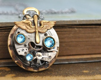 steampunk jewelry necklace - AVIATION - vintage brass aviator charm steampunk watch movement necklace