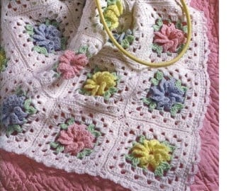 Crochet PATTERN -  Rose Motif Roses Baby AFGHAN PDF Download