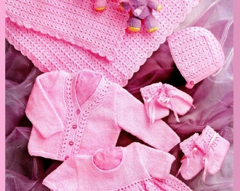 Baby KNITTING PATTERN - Shawl, Dress, Cardigan/Sweater, Bootees, Bonnet and Mitts 12 - 20 ins chest Prem sizes incl
