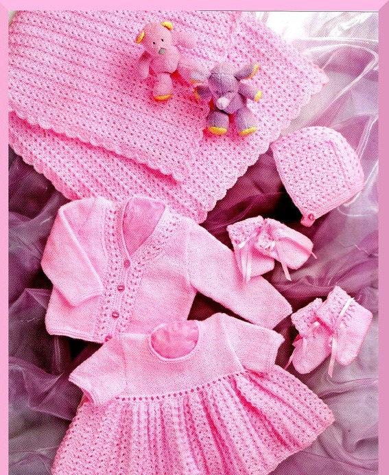 Toddler Knit Sweater Dress Pattern : Baby KNITTING PATTERN Shawl Dress Cardigan/Sweater