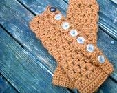 Burnt Orange Convertible Armwarmers/Fingerless Gloves
