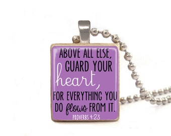 Purple Above All Else Guard Your Heart Necklace | Proverbs 4:23 Necklace | Proverbs Jewelry | Wood Necklace | Verse Necklace | Game Tile