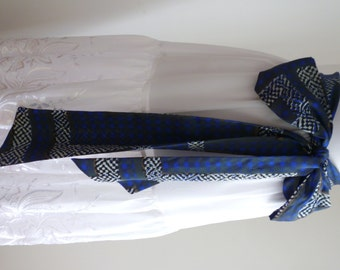 Sale 30% Off - Blue White Abstract Silk  Wedding Bridal Bridesmaid Sash,  Belt Combo Skarf