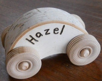Personalized Wooden Car Natural Waldorf Toy