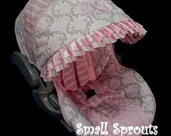 Custom Boutique Taupe and Light Pink Damask/Stripe with light Pink Minky Infant Car Seat Cover 5 Piece set