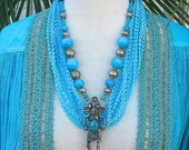Hopi Indian Kachina Doll, turquoise & vintage Turkomen beads, OPTIONAL multi-strand necklace, the Doll Series, necklace by SandraDesigns