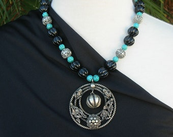 Antique Thai Silver Pendant, Top Quality Turquoise Melon Beads, Filigreed Silver & Black Lucite Melon Beads, Silk Road Necklace Set