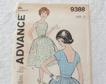 1960s full skirt dress pattern, square neckline, fitted bodice, sleeveless, Advance 9388, misses size 12 bust 32, vintage sewing pattern