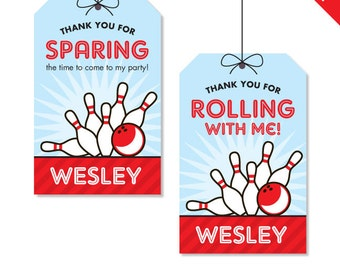 Bowling Party - Personalized DIY printable favor tags