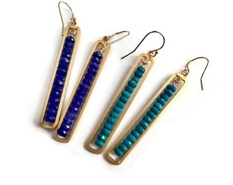 New for Spring - Bar Earrings in Shades of Blue