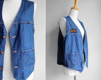 Vintage 1970s Denim Biker Vest- Wrangler Blue 1970s- Size Large womens or Medium mens