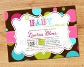 Girl Baby Shower Invitation-Digital Custom Card-Baby Girl Polka-Dots